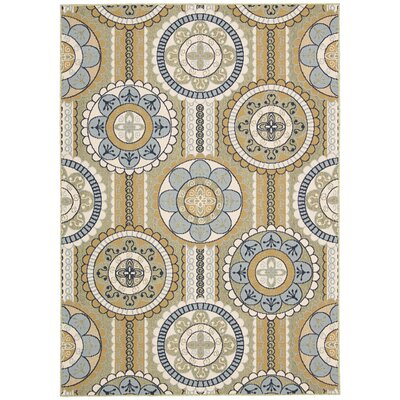 Lewis Yellow Indoor/Outdoor Area Rug Rug Size: 53 x 75