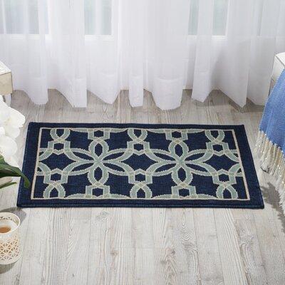 Lewis Navy & Ivory Indoor/Outdoor Area Rug Rug Size: 53 x 75