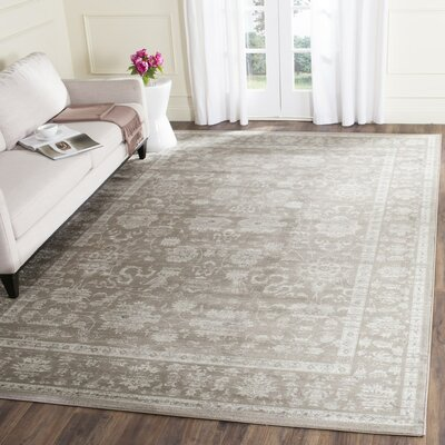 Rindge Brown/Ivory Floral Area Rug Rug Size: Rectangle 9 x 12