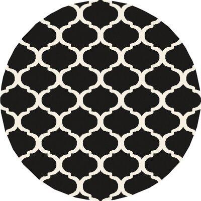 Bogdan Charcoal/Ivory Geometric Area Rug Rug Size: Round 710
