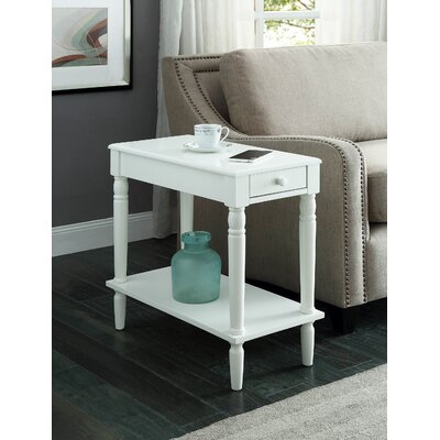 Carlisle End Table With Storage Color: White