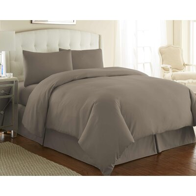 Cosima 3 Piece Duvet Cover Set Color: Dark Taupe, Size: Twin / Twin XL