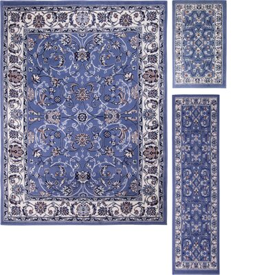 Gallaher 3 Piece Blue Area Rug Set