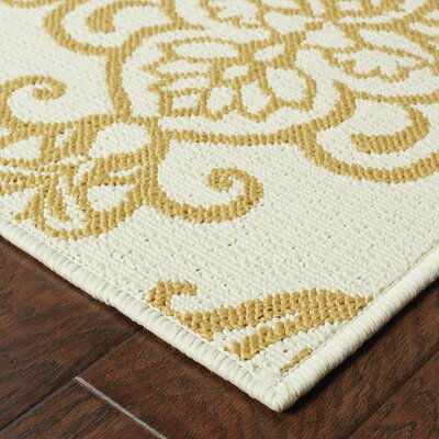 Lightsey Ivory/Gold Indoor/Outdoor�Area Rug Rug Size: Rectangle 37 x 56