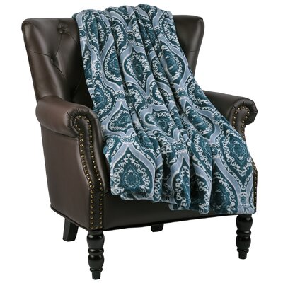 Boulder Microfiber Flannel Blanket Color: Deep Teal