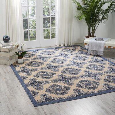 Ashby Ivory/Blue Indoor/Outdoor Area Rug Rug Size: 53 x 75