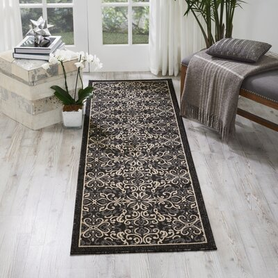 Ashby Charcoal Indoor/Outdoor Area Rug Rug Size: Runner 23 x 76