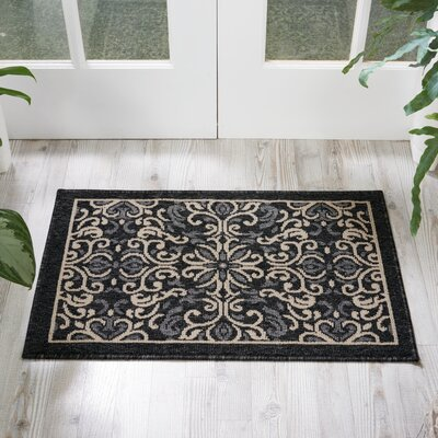 Ashby Charcoal Indoor/Outdoor Area Rug Rug Size: 19 x 29