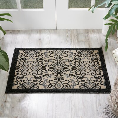 Ashby Ivory/Charcoal Indoor/Outdoor Area Rug Rug Size: 19 x 29