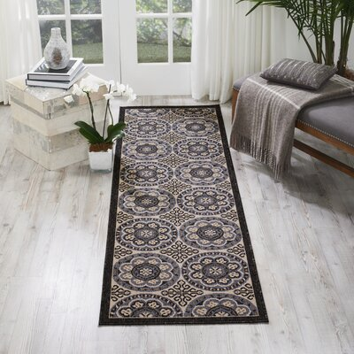 Ashby Ivory/Charcoal Indoor/Outdoor Area Rug Rug Size: Runner 23 x 76