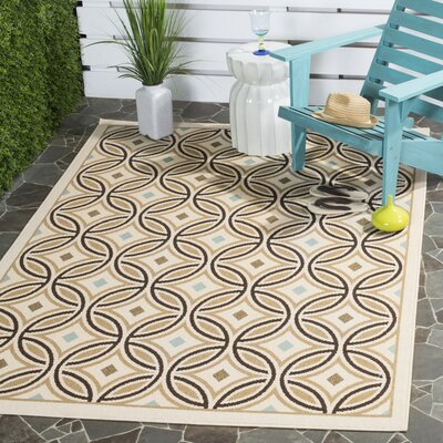 Rennie Cream / Chocolate Indoor/Outdoor Area Rug Rug Size: Rectangle 53 x 77