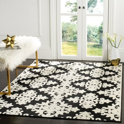 Bryan Black/Cream Area Rug Rug Size: 53 x 77