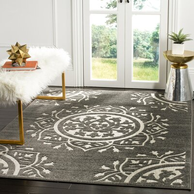 Bryan Charcoal/Cream Area Rug Rug Size: Runner 23 x 8