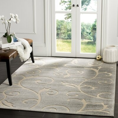 Bryan Gray/Cream Area Rug Rug Size: 53 x 77