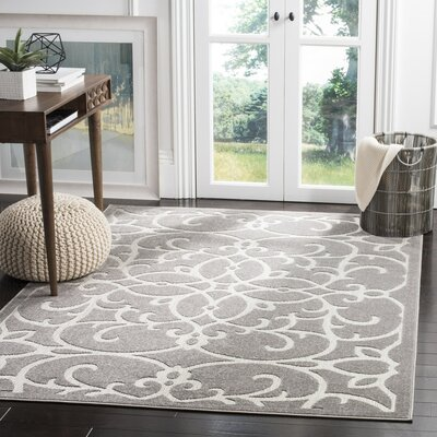 Bryan Gray/Light Gray Indoor/Outdoor Area Rug Rug Size: Rectangle 53 x 77