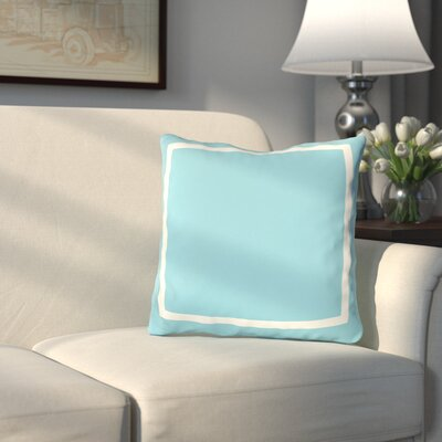 Pekham Simple Square Polyester Throw Pillow Color: Aqua Blue, Size: 20 H x 20 W