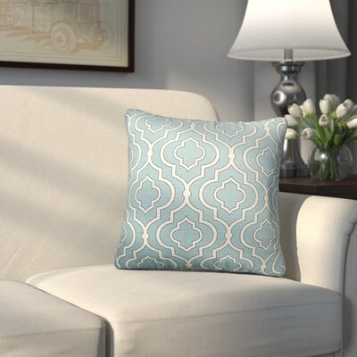 Carlyle Cotton Throw Pillow Size: 18 H x 18 W, Color: Aqua