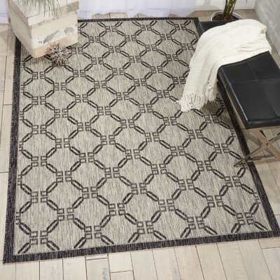 Cochrane Ivory/Charcoal Indoor/Outdoor Area Rug Rug Size: 53 x 73