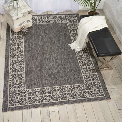 Cochrane Charcoal Indoor/Outdoor Area Rug Rug Size: Rectangle 36 x 56