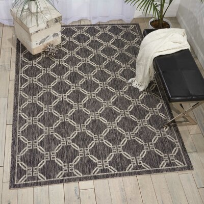 Cochrane Charcoal Indoor/Outdoor Area Rug Rug Size: 53 x 73