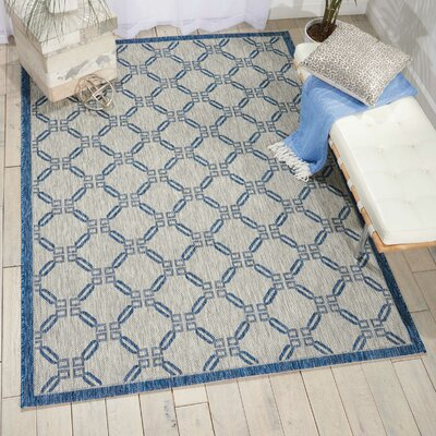 Cochrane Ivory/Blue Indoor/Outdoor Area Rug Rug Size: 53 x 73