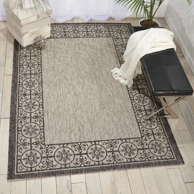 Cochrane Ivory/Charcoal Indoor/Outdoor Area Rug Rug Size: 36 x 56