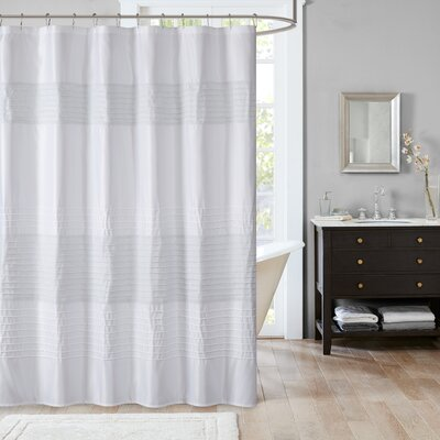 Berardi Metallic Shower Curtain Color: White