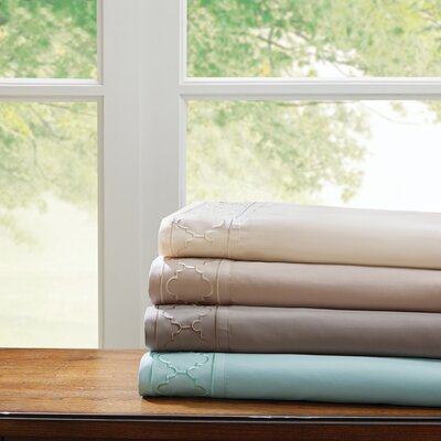 Orville Embroidered Sheet Set Size: Twin, Color: Seafoam