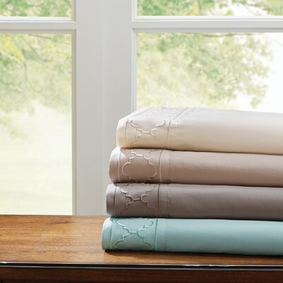 Orville Embroidered Sheet Set Size: Twin, Color: Khaki