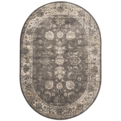 Rindge Soft Anthracite Area Rug Rug Size: Oval 53 x 76