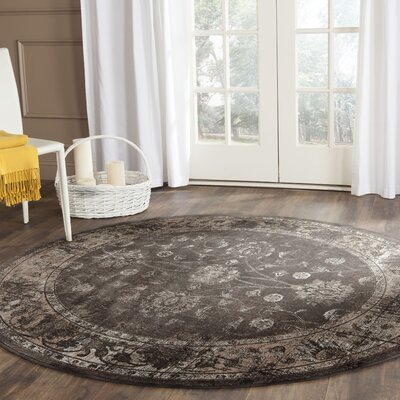 Rindge Soft Anthracite Area Rug Rug Size: Round 6