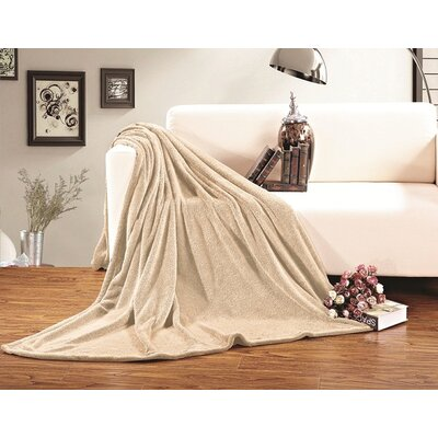 Corbett All Season Super Plush Luxury Fleece Throw Blanket Color: Beige, Size: Twin/Twin XL