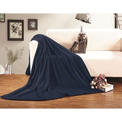 Corbett All Season Super Plush Luxury Fleece Throw Blanket Color: Navy, Size: King/California King
