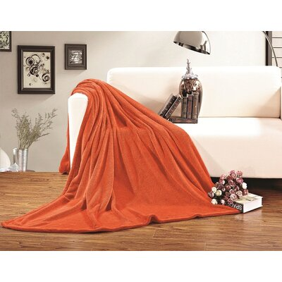 Corbett All Season Super Plush Luxury Fleece Throw Blanket Color: Orange, Size: Twin/Twin XL
