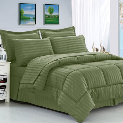 Etta 8 Piece Reversible Comforter Set Color: Green, Size: Full/Queen