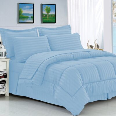 Haliburton 8 Piece Reversible Comforter Set Color: Light Blue, Size: King/California King
