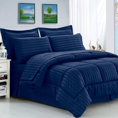 Etta 8 Piece Reversible Comforter Set Color: Navy Blue, Size: King/California King