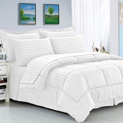 Haliburton 8 Piece Reversible Comforter Set Color: White, Size: Full/Queen