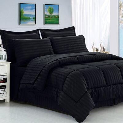 Haliburton 8 Piece Reversible Comforter Set Color: Black, Size: Full/Queen