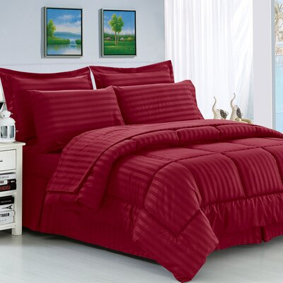 Haliburton 8 Piece Reversible Comforter Set Color: Burgundy, Size: Full/Queen