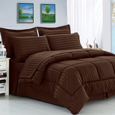Haliburton 8 Piece Reversible Comforter Set Color: Chocolate, Size: Full/Queen