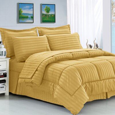 Haliburton 8 Piece Reversible Comforter Set Color: Gold, Size: Full/Queen