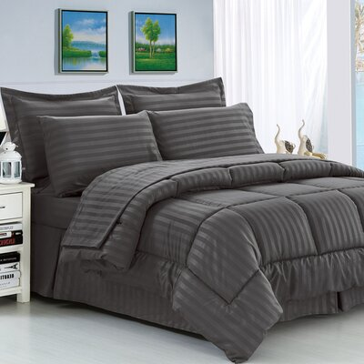 Etta 8 Piece Reversible Comforter Set Color: Gray, Size: King/California King