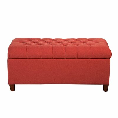 Fabric Storage Bedroom Bench Upholstery: Orange / Red