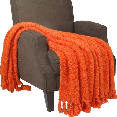 Alyn Fluffy Throw Blanket Color: Burnt Orange