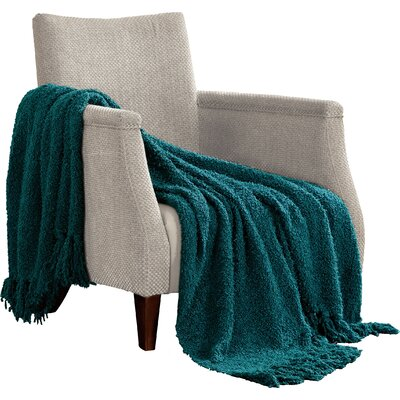 Alyn Fluffy Throw Blanket Color: Dark Teal