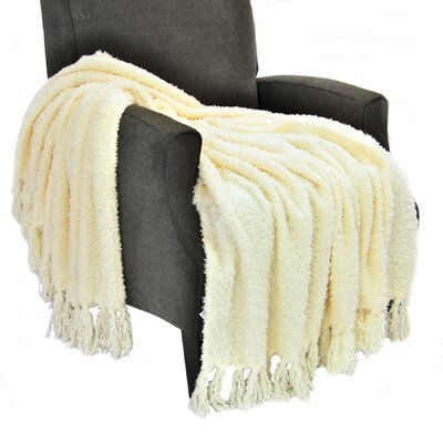 Alyn Fluffy Throw Blanket Color: Antique White