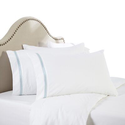 Leeland Satin Stitch Sheet Set Size: King, Color: Light Blue