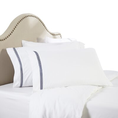Leeland Satin Stitch 1800 Thread Count Sheet Set Size: Twin, Color: Navy Blue