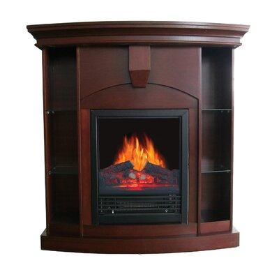 Belford Corner Curio Electric Fireplace Finish: Walnut